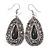 Teardrop Hematite Crystal, Black Resin Drop Earrings In Silver Tone - 50mm L