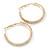 Two Row Crystal Hoop Earrings In Gold Tone - 45mm D - view 7