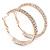 Two Row Crystal Hoop Earrings In Gold Tone - 45mm D