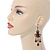 Victorian Style Brown Acrylic Bead Chandelier Earrings In Antique Gold Tone - 80mm L - view 2