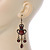 Victorian Style Brown Acrylic Bead Chandelier Earrings In Antique Gold Tone - 80mm L - view 5