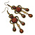 Victorian Style Brown Acrylic Bead Chandelier Earrings In Antique Gold Tone - 80mm L - view 7