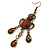 Victorian Style Brown Acrylic Bead Chandelier Earrings In Antique Gold Tone - 80mm L - view 3