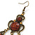 Victorian Style Brown Acrylic Bead Chandelier Earrings In Antique Gold Tone - 80mm L - view 6