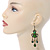 Victorian Style Green/ Olive Acrylic Bead Chandelier Earrings In Antique Gold Tone - 80mm L - view 2