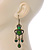 Victorian Style Green/ Olive Acrylic Bead Chandelier Earrings In Antique Gold Tone - 80mm L - view 5