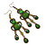 Victorian Style Green/ Olive Acrylic Bead Chandelier Earrings In Antique Gold Tone - 80mm L - view 7