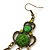 Victorian Style Green/ Olive Acrylic Bead Chandelier Earrings In Antique Gold Tone - 80mm L - view 6