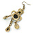 Victorian Style Green/ Olive Acrylic Bead Chandelier Earrings In Antique Gold Tone - 80mm L - view 4