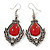 Victorian Style Red Glass, Hematite Crystal Drop Earrings In Silver Tone - 55mm L - view 1