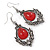 Victorian Style Red Glass, Hematite Crystal Drop Earrings In Silver Tone - 55mm L - view 6