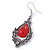 Victorian Style Red Glass, Hematite Crystal Drop Earrings In Silver Tone - 55mm L - view 7
