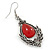 Victorian Style Red Glass, Hematite Crystal Drop Earrings In Silver Tone - 55mm L - view 3