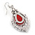 Victorian Style Red Glass, Hematite Crystal Drop Earrings In Silver Tone - 55mm L - view 4