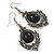 Victorian Style Black Glass, Hematite Crystal Drop Earrings In Silver Tone - 55mm L - view 6