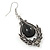 Victorian Style Black Glass, Hematite Crystal Drop Earrings In Silver Tone - 55mm L - view 7