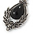 Victorian Style Black Glass, Hematite Crystal Drop Earrings In Silver Tone - 55mm L - view 3
