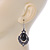 Victorian Style Black Glass, Hematite Crystal Drop Earrings In Silver Tone - 55mm L - view 5