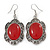 Victorian Style Red Resin Stone Oval Drop Earrings In Burnt Silver Tone - 50mm L