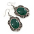Victorian Style Green Resin Stone Oval Drop Earrings In Burnt Silver Tone - 50mm L - view 6