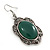 Victorian Style Green Resin Stone Oval Drop Earrings In Burnt Silver Tone - 50mm L - view 3