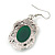 Victorian Style Green Resin Stone Oval Drop Earrings In Burnt Silver Tone - 50mm L - view 4
