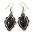 Victorian Style Black Ceramic Stone Diamond Drop Earrings In Silver Tone - 50mm L - view 6