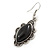 Victorian Style Black Ceramic Stone Diamond Drop Earrings In Silver Tone - 50mm L - view 3