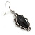 Victorian Style Black Ceramic Stone Diamond Drop Earrings In Silver Tone - 50mm L - view 7