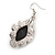 Victorian Style Black Ceramic Stone Diamond Drop Earrings In Silver Tone - 50mm L - view 4