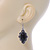 Victorian Style Black Ceramic Stone Diamond Drop Earrings In Silver Tone - 50mm L - view 5