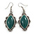 Victorian Style Green Ceramic Stone Diamond Drop Earrings In Silver Tone - 50mm L - view 1
