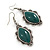 Victorian Style Green Ceramic Stone Diamond Drop Earrings In Silver Tone - 50mm L - view 6
