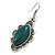 Victorian Style Green Ceramic Stone Diamond Drop Earrings In Silver Tone - 50mm L - view 3