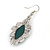 Victorian Style Green Ceramic Stone Diamond Drop Earrings In Silver Tone - 50mm L - view 4
