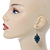 Victorian Style Green Ceramic Stone Diamond Drop Earrings In Silver Tone - 50mm L - view 2