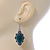 Victorian Style Green Ceramic Stone Diamond Drop Earrings In Silver Tone - 50mm L - view 5