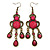 Victorian Style Fuchsia/ Pink Acrylic Bead Chandelier Earrings In Antique Gold Tone - 80mm L
