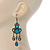 Victorian Style Teal/ Azure Acrylic Bead Chandelier Earrings In Antique Gold Tone - 80mm L - view 6