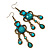 Victorian Style Teal/ Azure Acrylic Bead Chandelier Earrings In Antique Gold Tone - 80mm L - view 7