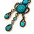 Victorian Style Teal/ Azure Acrylic Bead Chandelier Earrings In Antique Gold Tone - 80mm L - view 3