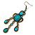 Victorian Style Teal/ Azure Acrylic Bead Chandelier Earrings In Antique Gold Tone - 80mm L - view 5