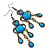 Victorian Style Blue Acrylic Bead Chandelier Earrings In Antique Gold Tone - 80mm L - view 5