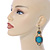 Victorian Style Light Blue  Acrylic Bead, Crystal Chandelier Earrings In Antique Gold Tone - 80mm L - view 2