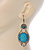 Victorian Style Light Blue  Acrylic Bead, Crystal Chandelier Earrings In Antique Gold Tone - 80mm L - view 5