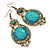 Victorian Style Light Blue  Acrylic Bead, Crystal Chandelier Earrings In Antique Gold Tone - 80mm L - view 6