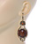 Victorian Style Brown Acrylic Bead, Crystal Chandelier Earrings In Antique Gold Tone - 80mm L - view 2