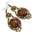 Victorian Style Brown Acrylic Bead, Crystal Chandelier Earrings In Antique Gold Tone - 80mm L - view 5