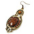 Victorian Style Brown Acrylic Bead, Crystal Chandelier Earrings In Antique Gold Tone - 80mm L - view 6