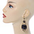 Victorian Style Black Acrylic Bead, Crystal Chandelier Earrings In Antique Gold Tone - 80mm L - view 2